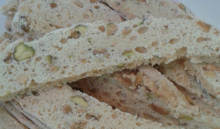 Pistachio melba toast